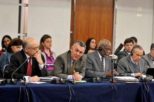 Representantes de El Salvador, Ecuador, Dominica y Costa Rica ante la OEA durante la sesión especial del Consejo Permanente del 8 de marzo.