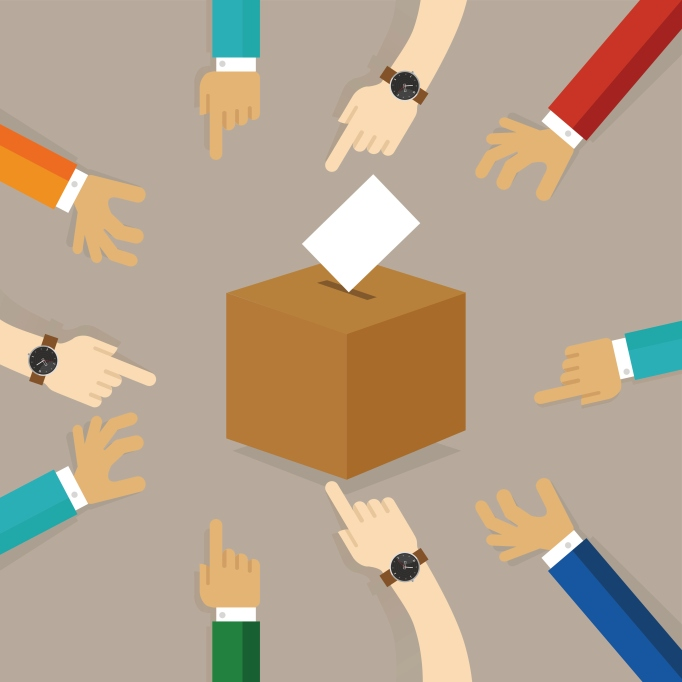 voting or polling election. people cast their vote insert paper their choice into the box. concept of participation togetherness on decision making