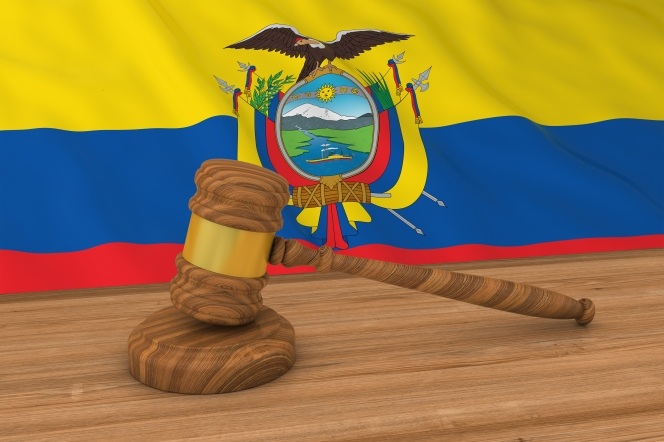 Ecuadorian Law Concept - Flag of Ecuador Behind Judge's Gavel